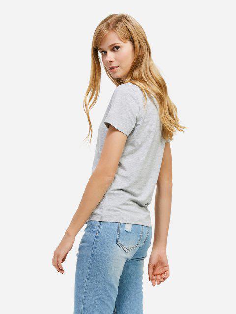 Mode Schlitz Rundhalsausschnitt T Shirt - Grau S Mobile