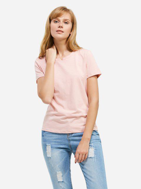 Mode Schlitz Rundhalsausschnitt T Shirt - Rosa XL Mobile