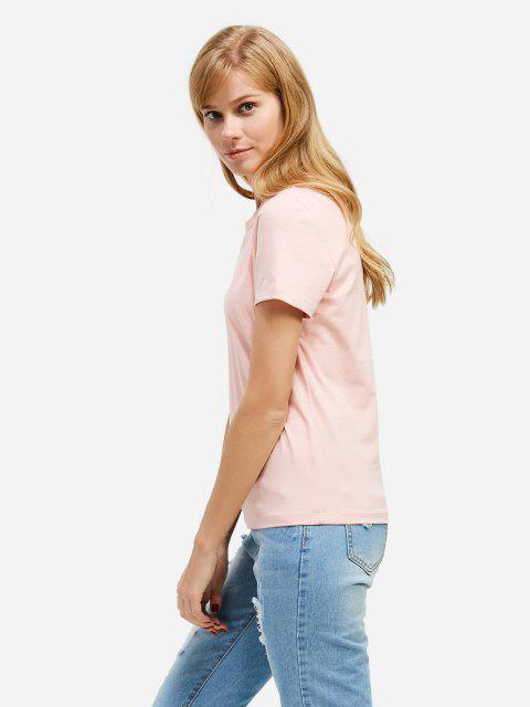 Mode Schlitz Rundhalsausschnitt T Shirt - Rosa M Mobile