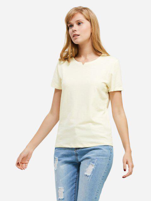 Mode Schlitz Rundhalsausschnitt T Shirt - Palomino XL Mobile
