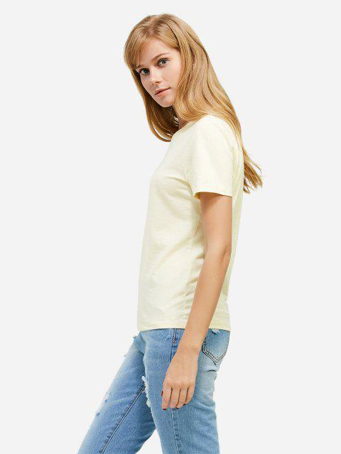 affordable ZAN.STYLE Slit Crew Neck T Shirt - PALOMINO S Mobile