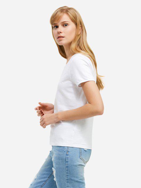 women ZAN.STYLE Crew Neck T-shirt - WHITE L Mobile