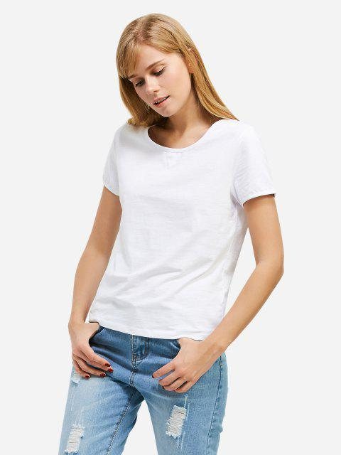 women's ZAN.STYLE Crew Neck T-shirt - WHITE M Mobile