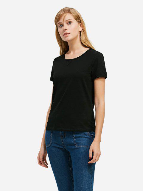 lady ZAN.STYLE Crew Neck T-shirt - BLACK 2XL Mobile