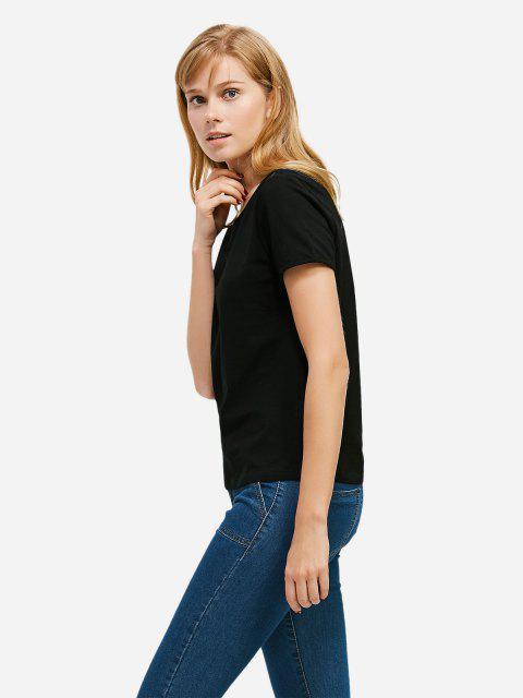online ZAN.STYLE Crew Neck T-shirt - BLACK L Mobile