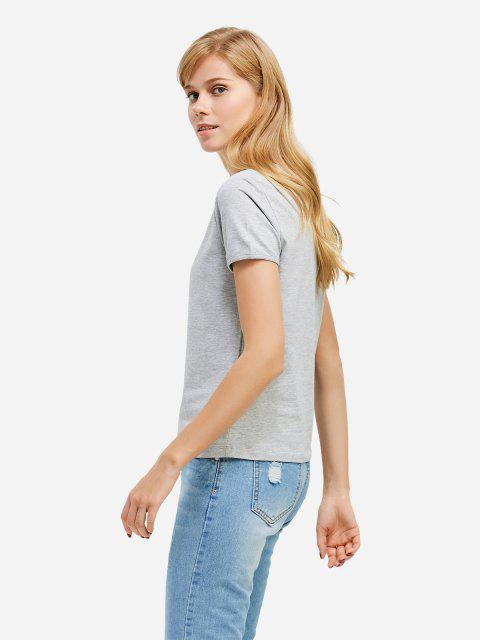 shops ZAN.STYLE Crew Neck T-shirt - GRAY M Mobile