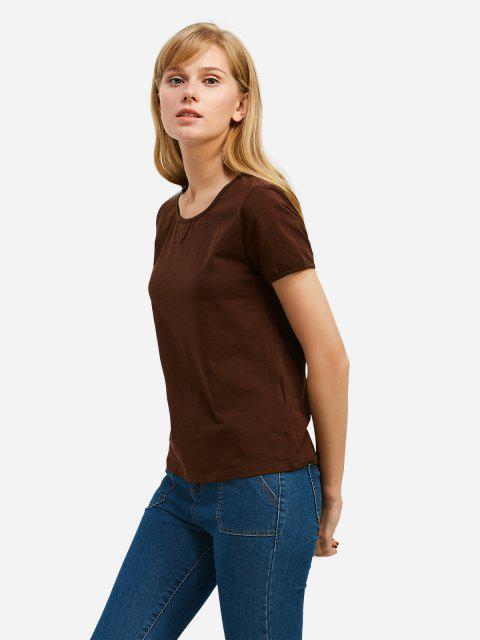 trendy ZAN.STYLE Crew Neck T-shirt - COFFEE 2XL Mobile