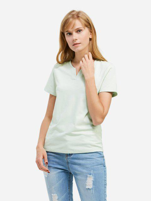 shop ZAN.STYLE Split Neck T-shirt - LIGHT GREEN M Mobile