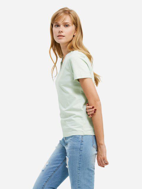 shops ZAN.STYLE Split Neck T-shirt - LIGHT GREEN S Mobile