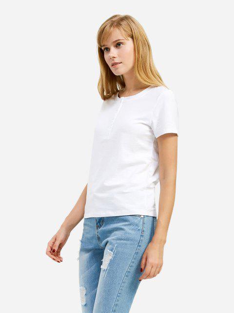 buy ZAN.STYLE Half Button T-shirt - WHITE XL Mobile