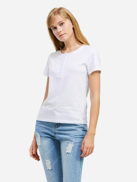 women ZAN.STYLE Half Button T-shirt - WHITE M Mobile
