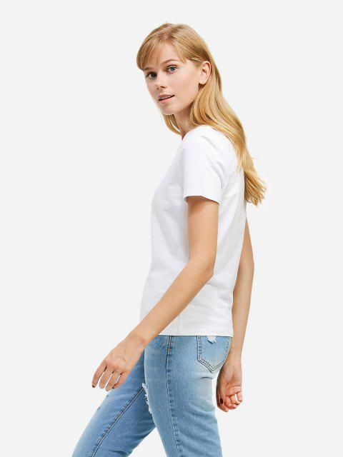 Mode Split-Ausschnitt T-Shirt - Weiß 2XL Mobile
