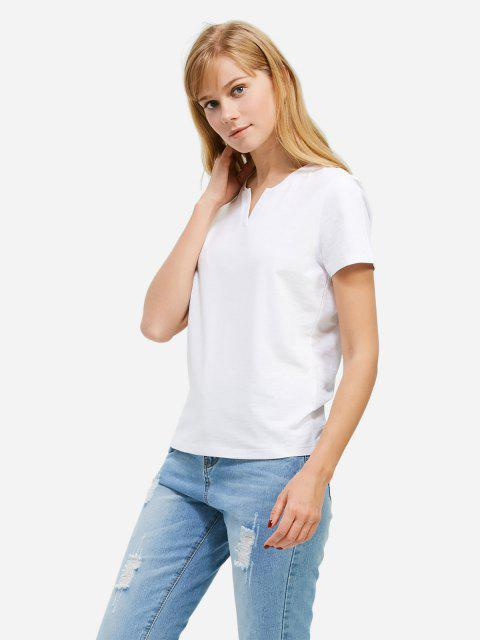 trendy ZAN.STYLE Split Neck T-shirt - WHITE S Mobile