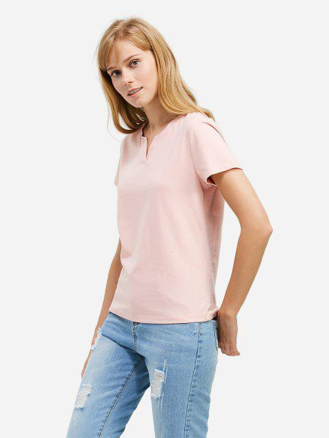 chic ZAN.STYLE Split Neck T-shirt - PINK XL Mobile