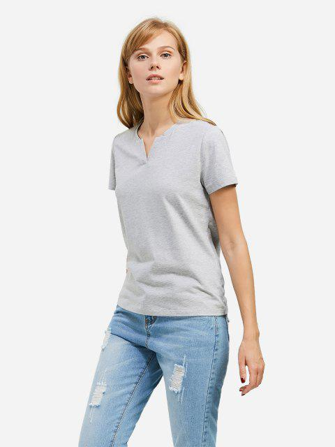 womens ZAN.STYLE Split Neck T-shirt - GRAY L Mobile