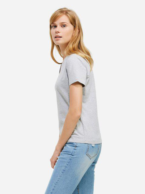 women ZAN.STYLE Split Neck T-shirt - GRAY M Mobile