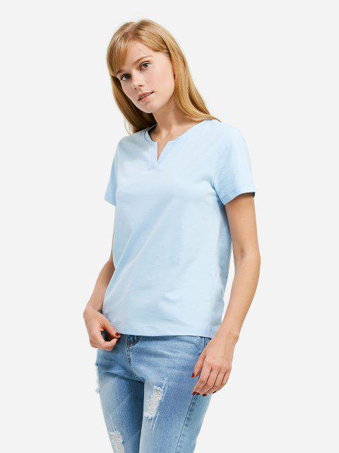 lady ZAN.STYLE Split Neck T-shirt - LIGHT BLUE XL Mobile