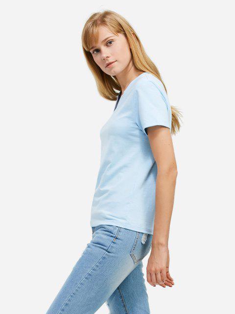 best ZAN.STYLE Split Neck T-shirt - LIGHT BLUE L Mobile