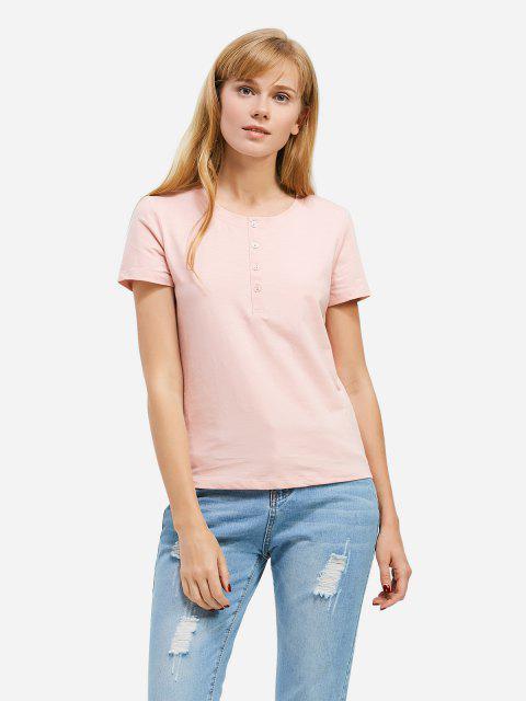 ladies ZAN.STYLE Half Button T-shirt - PINK 2XL Mobile