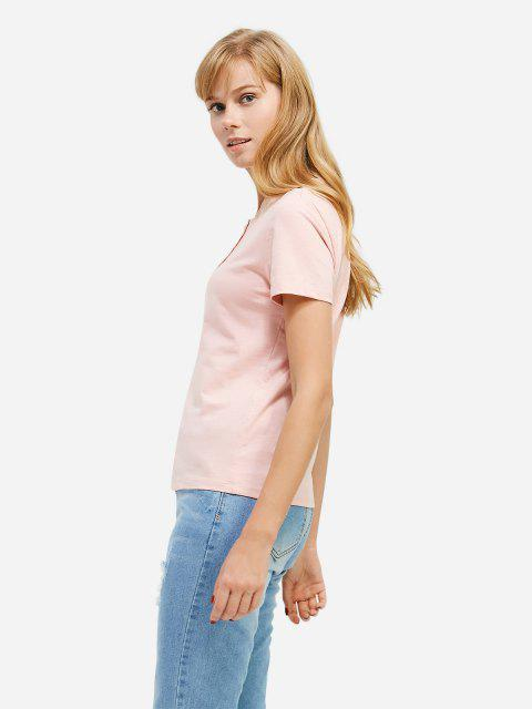 best ZAN.STYLE Half Button T-shirt - PINK L Mobile