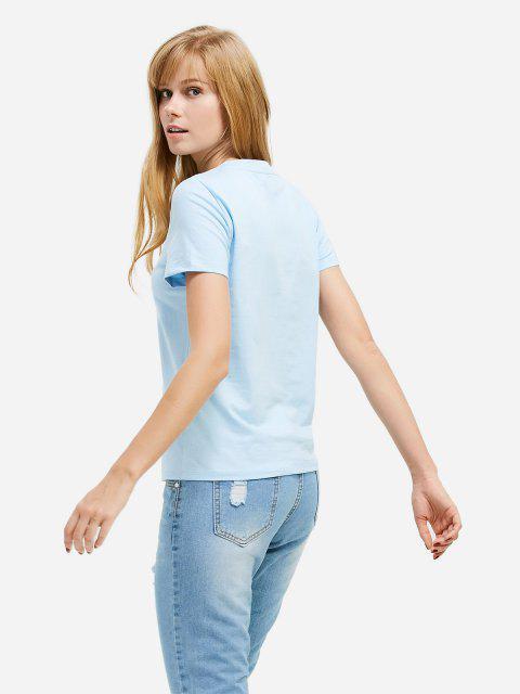 hot ZAN.STYLE Half Button T-shirt - LIGHT BLUE S Mobile