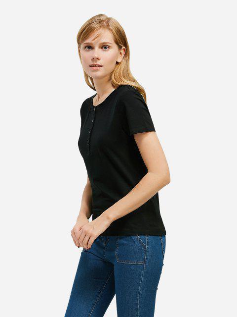 chic ZAN.STYLE Half Button T-shirt - BLACK L Mobile