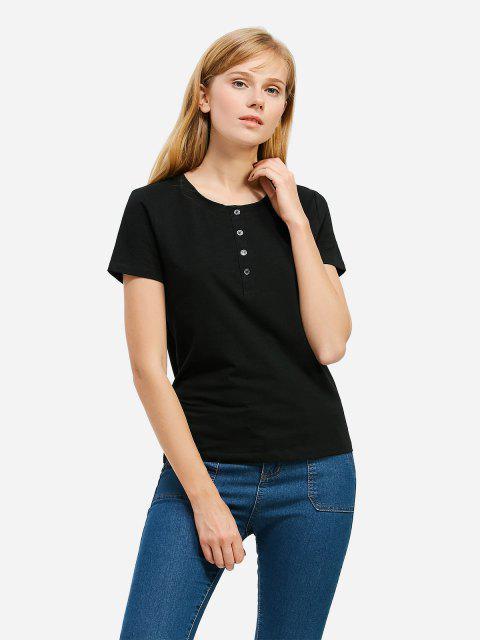 fancy ZAN.STYLE Half Button T-shirt - BLACK M Mobile
