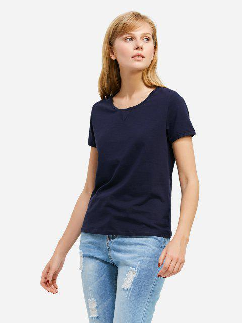 affordable ZAN.STYLE Crew Neck T-shirt - DEEP BLUE XL Mobile