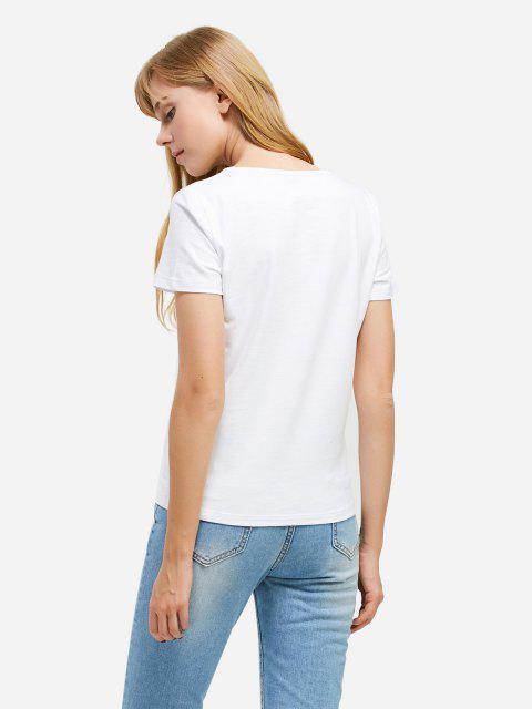T-Shirt à Col en V - Blanc 2XL Mobile