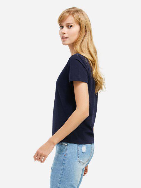 unique ZAN.STYLE V-neck T-shirt - DEEP BLUE 2XL Mobile