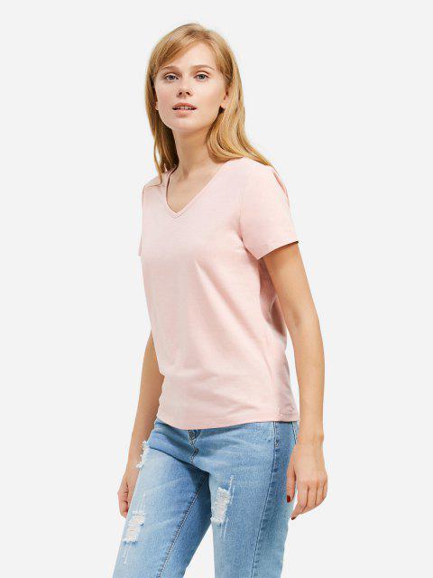 women ZAN.STYLE V-neck T-shirt - PINK 2XL Mobile