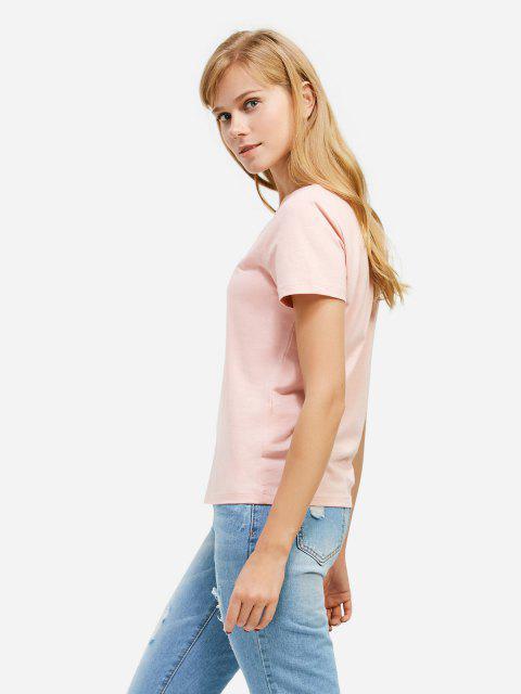 lady ZAN.STYLE V-neck T-shirt - PINK M Mobile