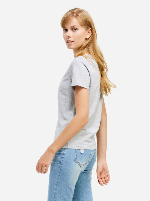 chic ZAN.STYLE V-neck T-shirt - GRAY M Mobile