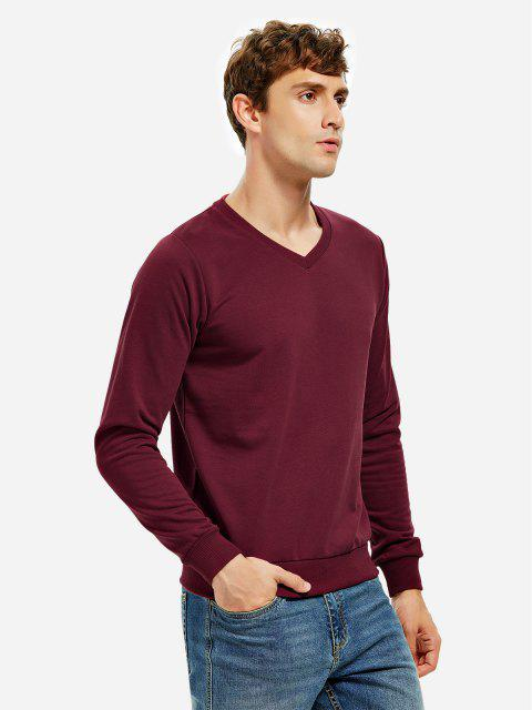 outfits ZAN.STYLE Long Sleeve V Neck Sweatshirt - DARK RED 2XL Mobile