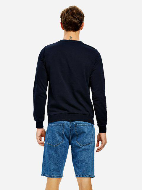 fancy ZAN.STYLE Long Sleeve V Neck Sweatshirt - DEEP BLUE L Mobile