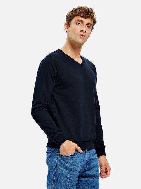 ZAN.STYLE Long Sleeve V Neck Sweatshirt - 深藍 M Mobile