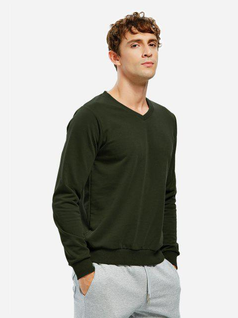 women Long Sleeve V Neck Sweatshirt - TURQUOISE M Mobile