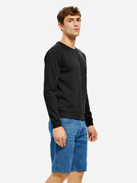 trendy ZAN.STYLE Round Neck Sweatshirt - BLACK 3XL Mobile