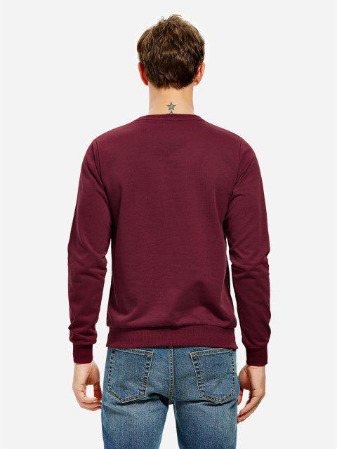 women's ZAN.STYLE Long Sleeve V Neck Sweatshirt - DARK RED 3XL Mobile