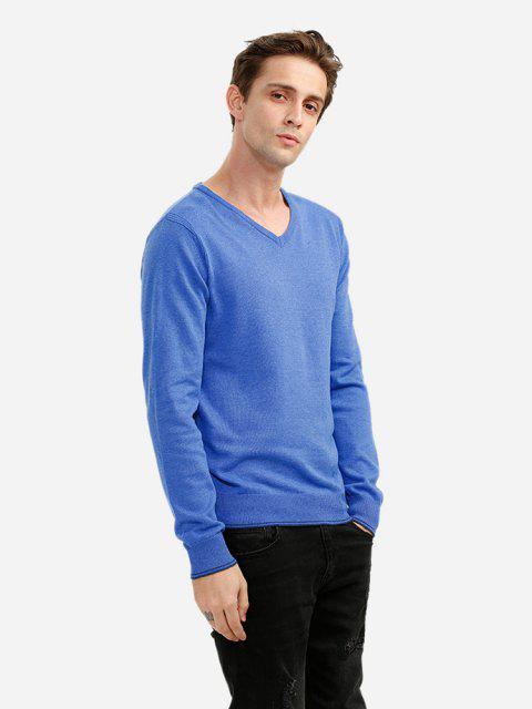 online ZAN.STYLE V-neck Cotton Blend Knitwear - BLUE L Mobile