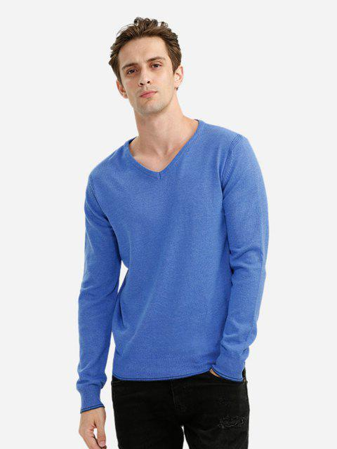 new V-neck Cotton Blend Knitwear - BLUE M Mobile