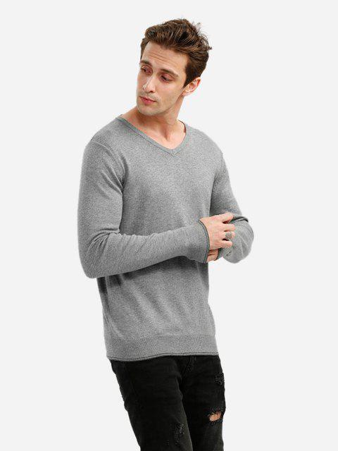 outfit ZAN.STYLE V-neck Cotton Blend Knitwear - GRAY 2XL Mobile