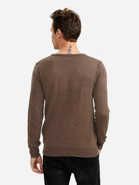 trendy ZAN.STYLE V-neck Cotton Blend Knitwear - COFFEE 2XL Mobile
