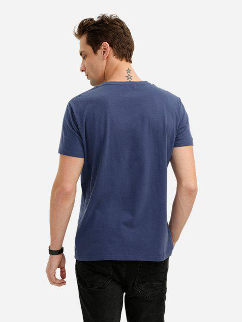 ZAN.STYLE Crew Neck T Shirt - ازرق غامق XL Mobile