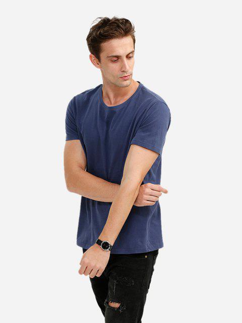 Camisa de Gola Redonda - Azul Escuro XL Mobile