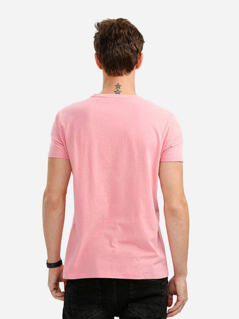 ZANSTYLE Camiseta de Cuello Redondo para Hombre - Rosado L Mobile