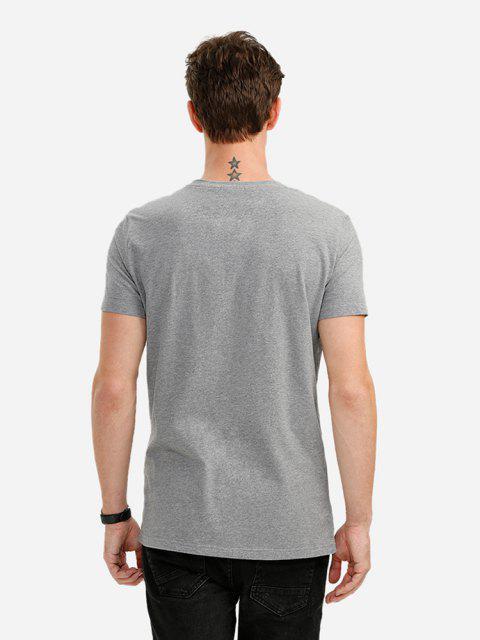 ZANSTYLE Männer V Ausschnitt T Shirt - Grau M Mobile