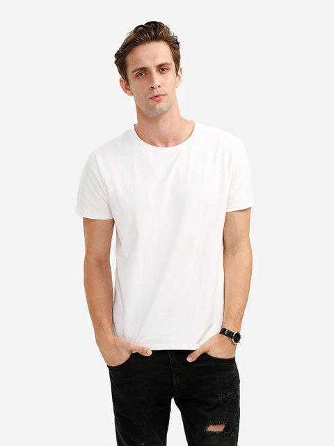ZANSTYLE Cuello Redondo Algodón de Camiseta para Hombre - Blanco XL Mobile