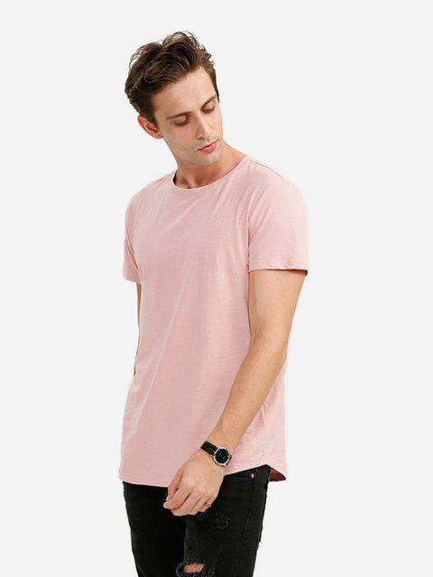 Männer Rundhalsausschnitt Helles Rosa T Shirt - Pink M Mobile