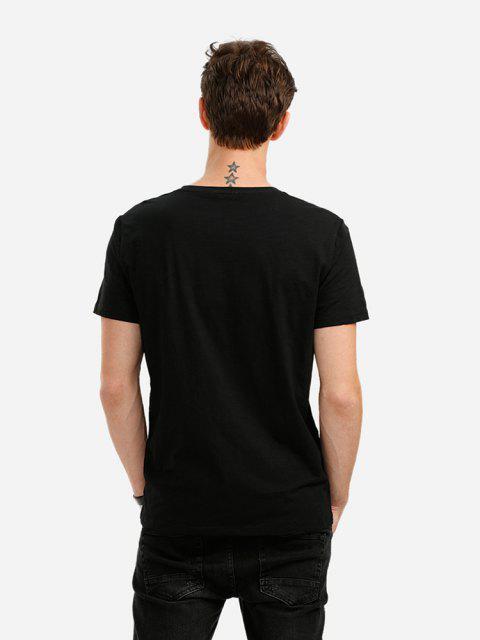 ZANSTYLE Camiseta con Cuello en V - Negro M Mobile